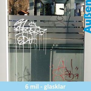 Glasklarer Graffiti-Schutz für Kunststoffverglasungen
